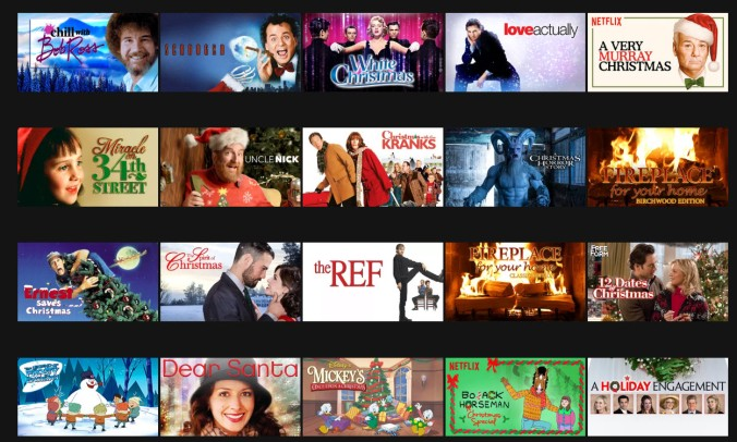 Scrooged, White Christmas, Love Actually, A Very Murray Christmas, Miracle on 34th Street, Christmas with the Kranks, Fireplace, Ernest Saves Christmas, The Ref,